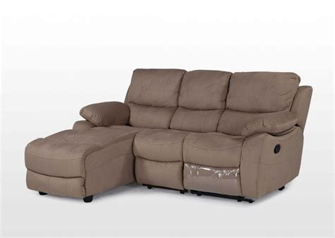chaise de clean contemporary suede 3 seater recliner sofa with chaise