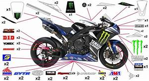 Stickers Yamaha Monster Graves AMA SBK 2011 YZF-R1 / M / S ...