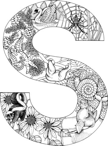 Letter S with Animals coloring page from English Alphabet