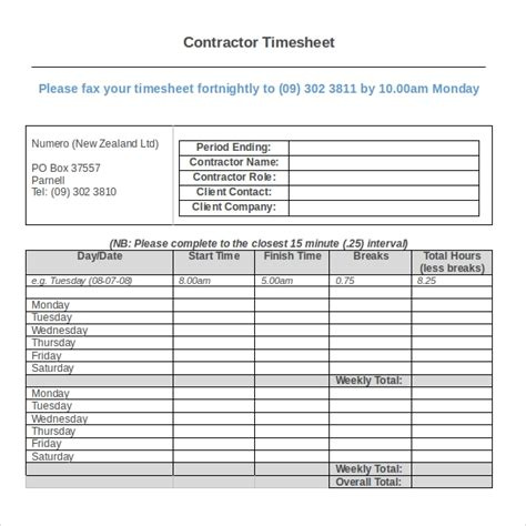 time card template for numbers 17 contractor timesheet templates docs word pages