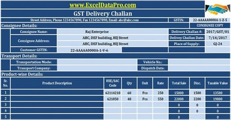 gst delivery challan format  excel