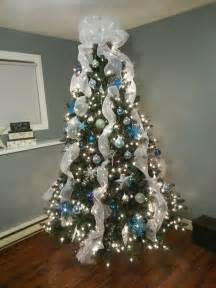 blue silver and white christmas tree