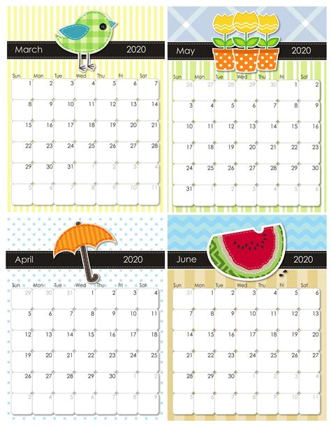 printable march  june  calendar  printable