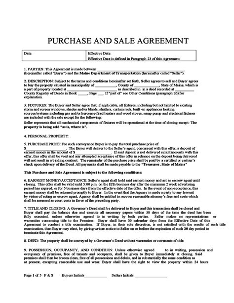 purchase and sale agreement form purchase and sale agreement maine free