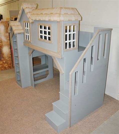 cottage loft bed spanky s clubhouse bunkbed playhouse side view