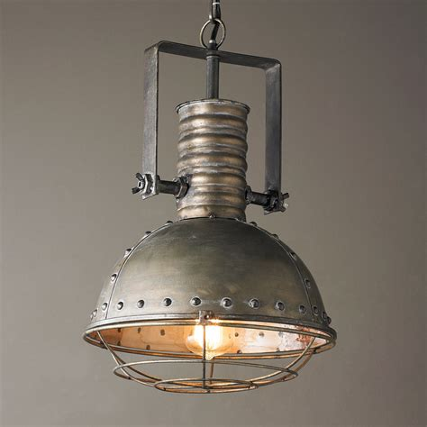 industrial caged pendant  rivets shades  light