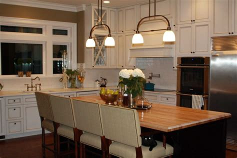Attractive White Kitchen Island With Butcher Block Top