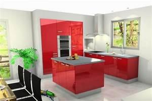 cuisine cuisine rouge avec ilot central 1000 idees With cuisine rouge avec ilot central