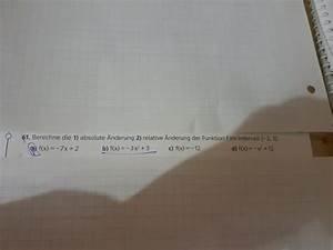 Differenzenquotient Berechnen : differenzenquotient berechne die relative und absolute nderung der funktion f im intervall ~ Themetempest.com Abrechnung