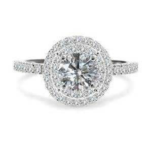 halo ring with wedding band 1 50 carat gh halo solitaire engagement ring 14k white gold ebay
