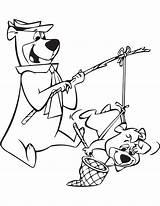 Bear Yogi Cave Coloring Jellystone Mammoth Cartoon Boo Template Fishing Sheets Polar Printable sketch template