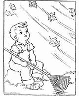 Coloring Leaf Colouring Windy Boy Fall Leaves Tree Kid Raisingourkids Too Rake Embroidery Drawings Patterns Kite Fal Library Clipart Children sketch template