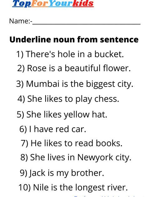 noun worksheet grade  underline noun  sentence