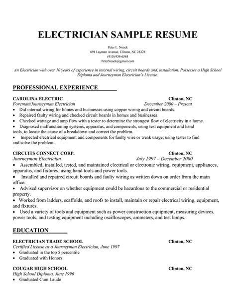 Electrician Resume Template Free electrician resume sle ready resume