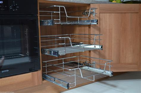 pull  wire baskets kitchen larder base unit cupboard