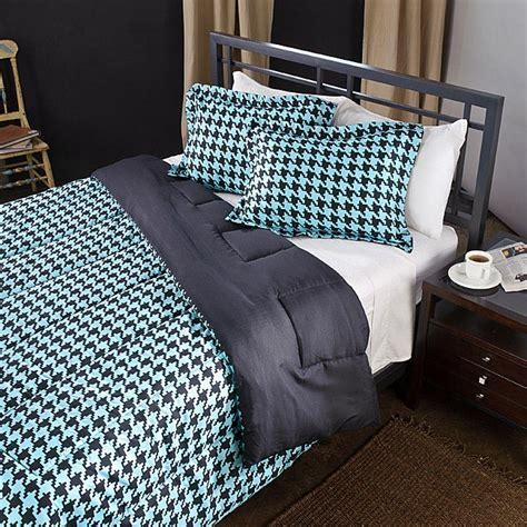 Black And Aqua Bedding by Aqua Black Houndstooth Size Comforter Set