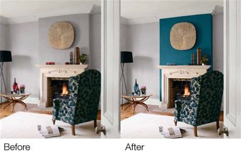 teal accent wall fireplace wall   blue  chair
