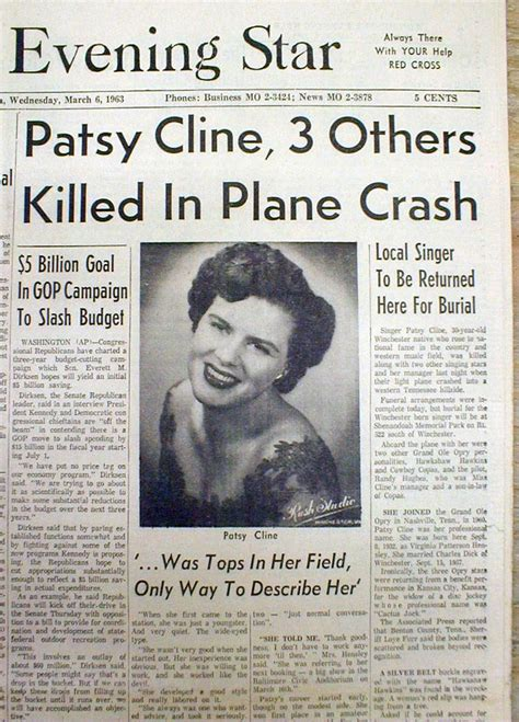 how did patsy cline die best 1963 hdline newspaper death of country singer patsy cline in airplane crash ebay
