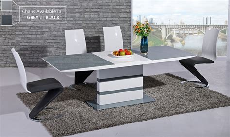 grey glass white high gloss dining table and 8 chairs