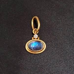 Denise Betesh Blue Moonstone Diamond Pendant Blue Sapphire ...