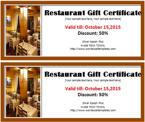 restaurant gift certificate template word excel templates