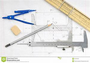 Page With Technical Drawing And Engineering Tools Stock