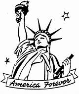 Liberty Statue Coloring Printable Torch Drawing Clipart Sheets Patriotic Template Colouring Freedom Getdrawings Worksheets sketch template