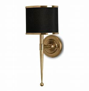 Primo hollywood regency modern brass black wall sconce for Black wall sconce