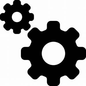 Settings interface symbol of two gears of different sizes ...