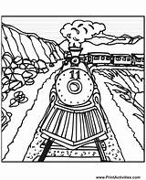 Train Coloring Pages Steam Trains Tracks Track Railroad Cartoon Printable Colouring Drawing Engine Number Csx Freight Draw Sheet Santa Sheets sketch template