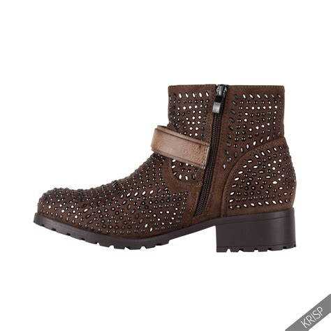 womens biker boots fashion womens fashion studded ankle biker boots low heel rock