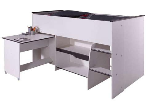 lit surélevé bureau lit surélevé combiné moby coloris blanc et gris vente de