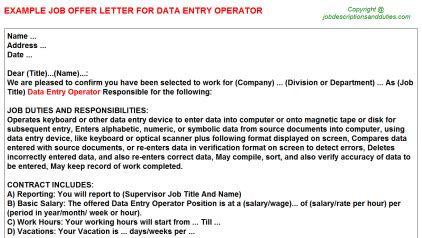 data entry operator offer letters