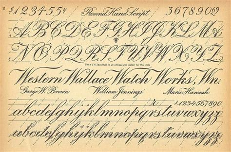 vintage early  early  century cursive script alphabet guide beautiful  lost form