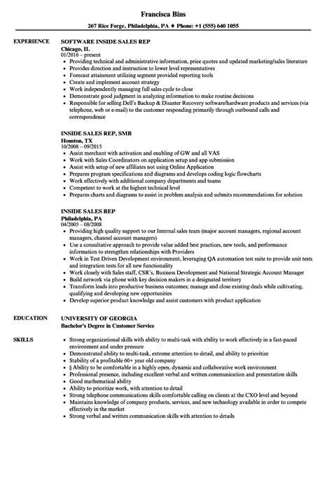 Inside Sales Resume by Inside Sales Rep Resume Sles Velvet