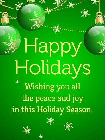 green bauble happy holidays card birthday greeting