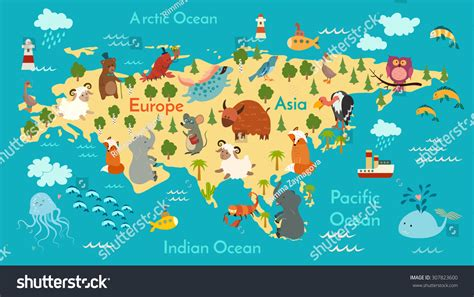 animals world map eurasia vector illustration stock vector 886 | stock vector animals world map eurasia vector illustration preschool baby continents oceans drawn earth 307823600