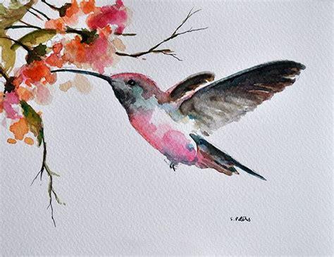 original watercolor bird painting hummingbird  flowers