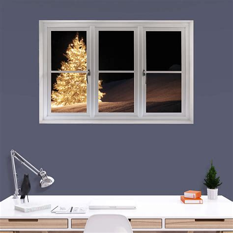 christmas tree  lights instant window wall decal