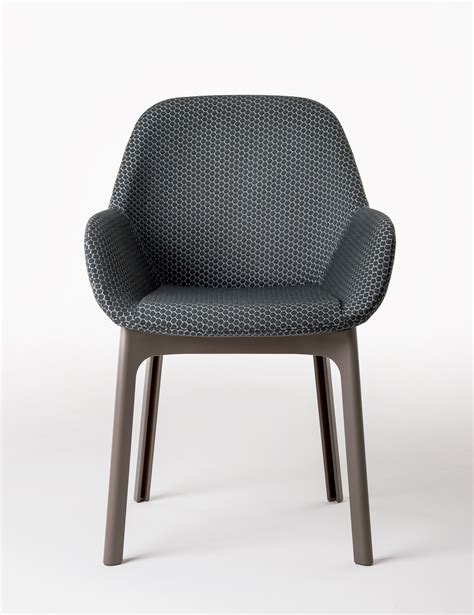 chaise sans pied fauteuil rembourré clap tissu pieds plastique graphite