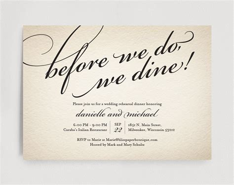Wedding Rehearsal Dinner Invitation Editable Template Before