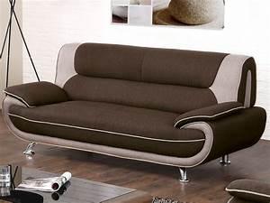 canape et fauteuil en tissu chocolat et beige nigel With tapis design avec canapé chocolat tissu