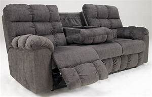 Acieona slate reclining sofa with drop down table 5830089 for Sectional sofa with drop down table