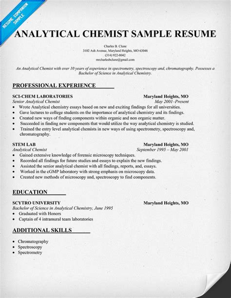 analytical chemist resume format analytical chemist cv exles help chromatography forum