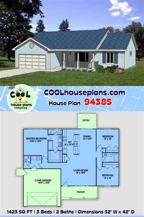 traditional style house plan    bed  bath  car garage house plans ranch house