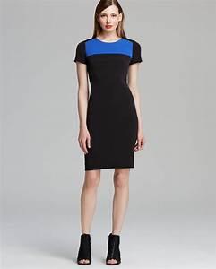 Asos Size Chart Dresses Dkny Color Block Short Sleeve Dress In Black Black Wave