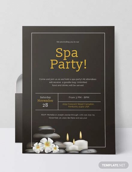 spa party invitations psd ai word  premium