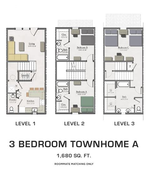 Three Bedroom Townhomes For Rent by Floor Plans For Msu Students Student Housing In East Lansing
