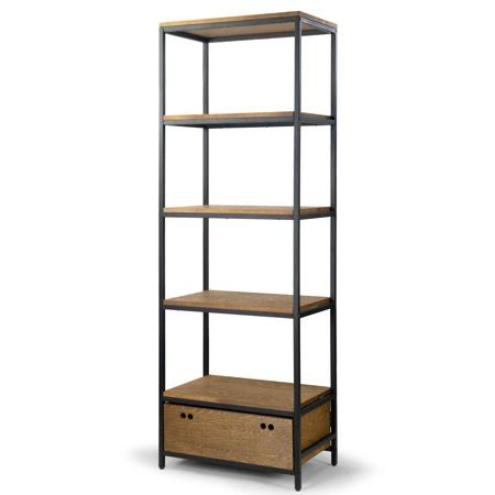 Etagere With Drawers by Brown Pine Wood Display Shelf Etagere Metal Frame