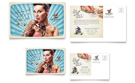 body art tattoo artist postcard template design